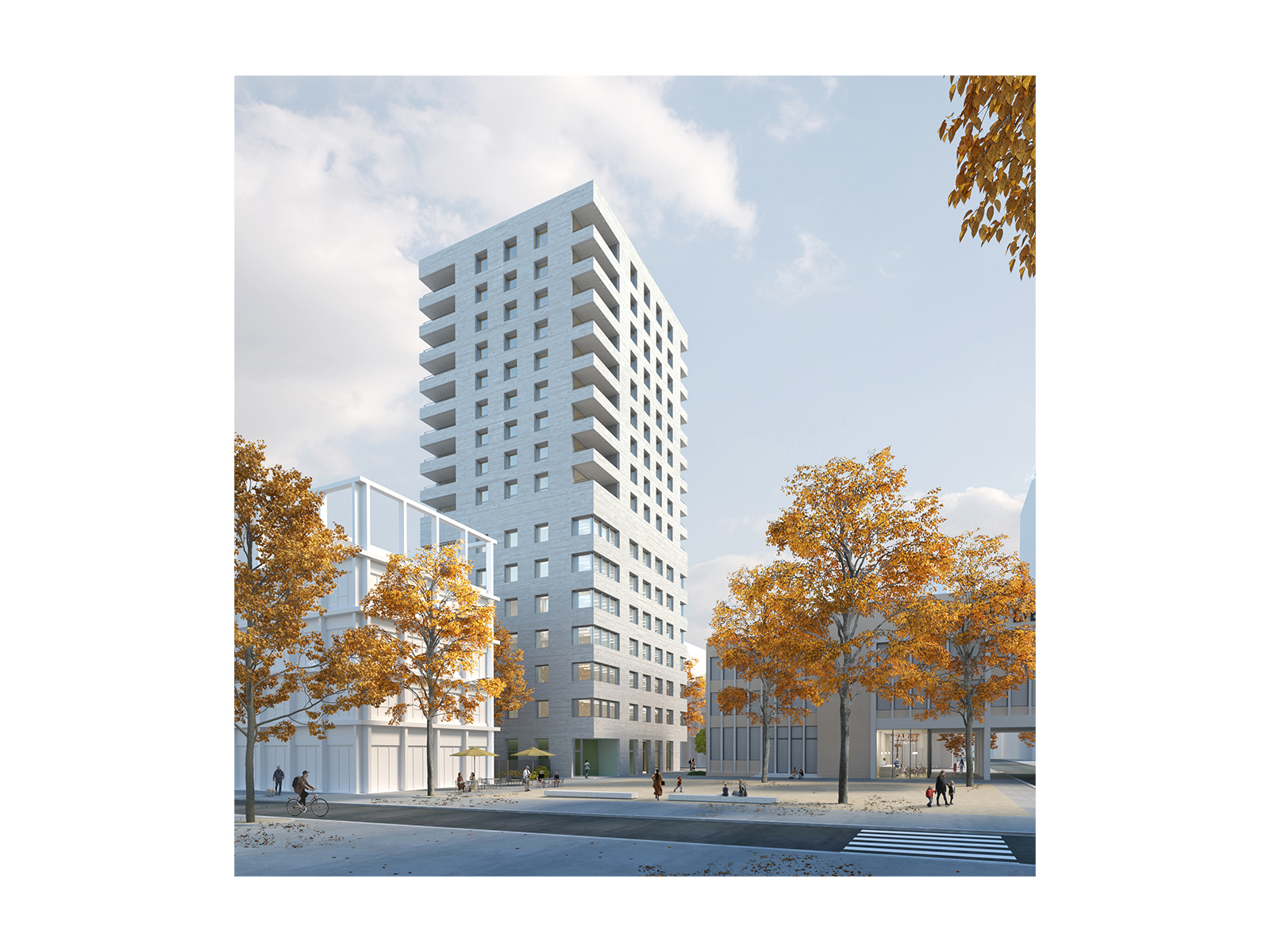 Architectural Visualization for a residential and office complex in France by David Chipperfield Architects.