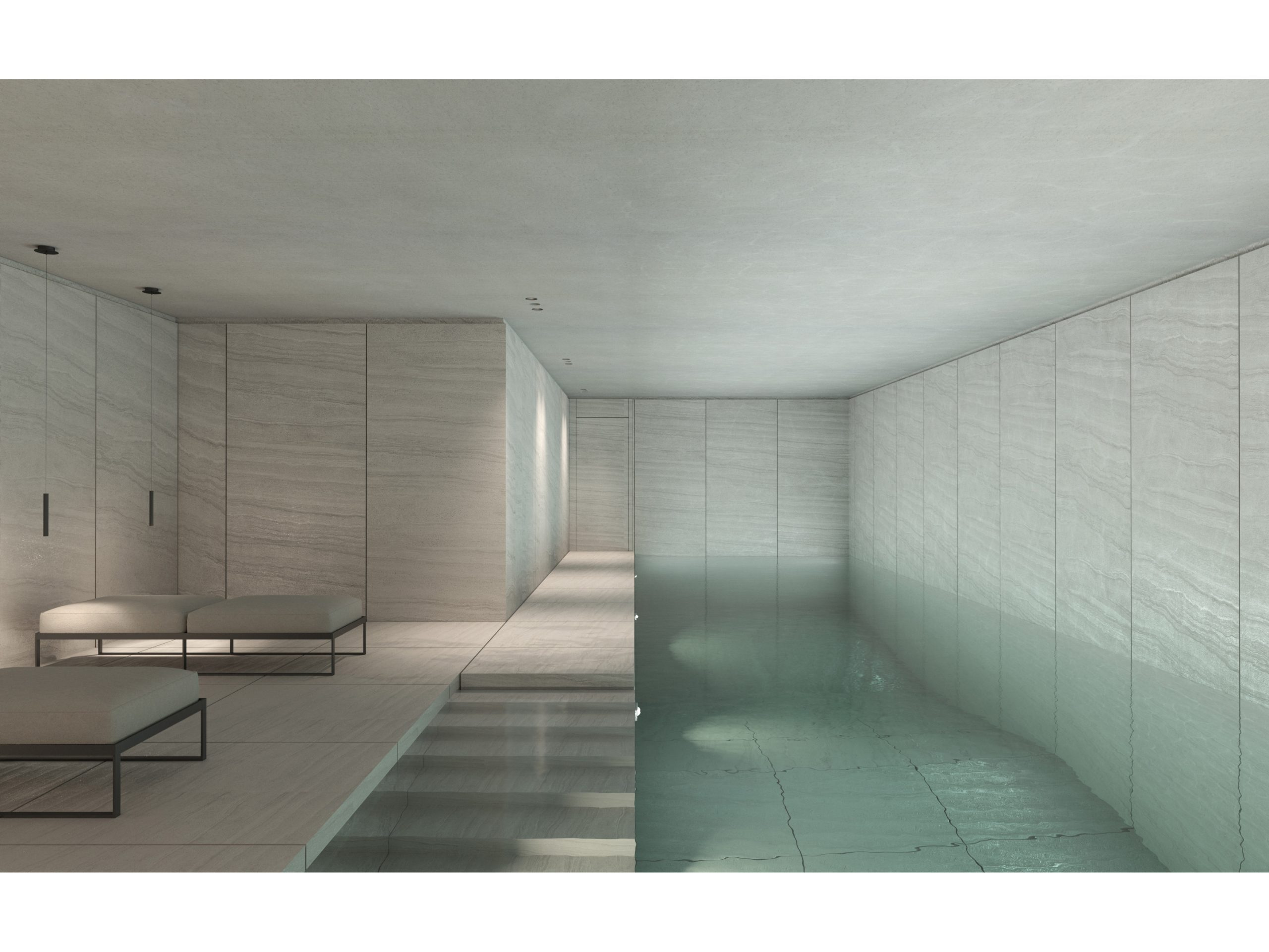 Architectural Interior Visualization for an interior pool by Philippe Meyer.