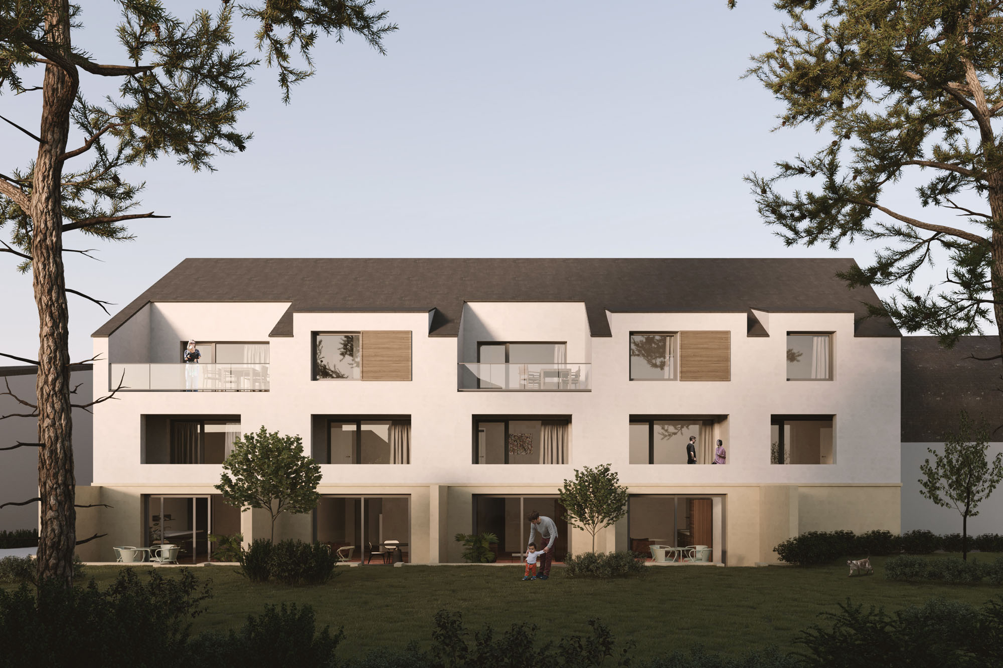Exterior Visualization for an residential project in Luxembourg by Dieschbourg Wagner Architecture.